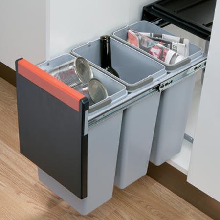 Cube Waste Bin 3x10ltr 300mm Black Grey 502 76 509