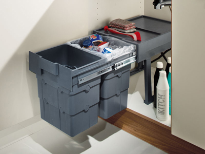 503.74.505 WasteBoy pull-out waste bin, 2 x 16 litres