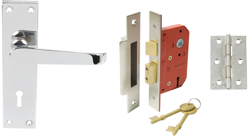 958.02.024 Plain Victorian lever handle door set, internal lock