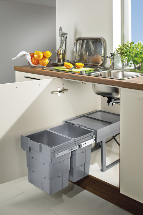 Pull Out Waste Bin, for Hinged Door Cabinets, 2x 16 Litres