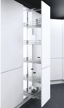 Pull Out Larder Unit, Classic Chrome Linear Wire Baskets