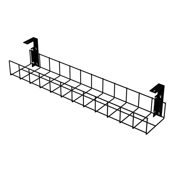 815mm long Cable Tray - Black - with Small brackets